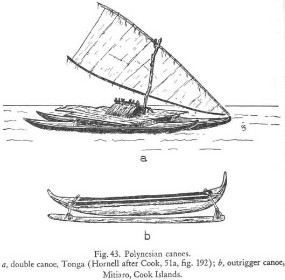 Ocean going canoes of the Polynesians that enabled the exploration and colonization of the South Pacific.