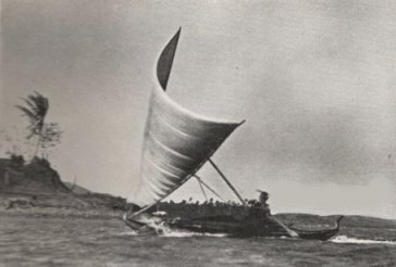 Yap outrigger canoe in 1936.