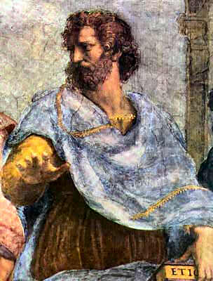 Aristotle as depicted by Raphael in the Vatican stanze.