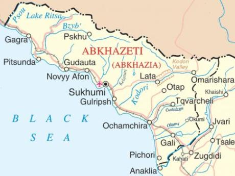 Abkhazia is legally a part of Georgia but it able to assert its independence because Russia is more than happy to have a stick to poke in Georgia's eye.