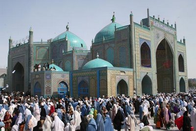 The Shrine of Hazrat Ali, often called the Blue Mosque at Mazar-e-Sharif