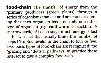 Oxford Dictionary of Ecology definition of food chain