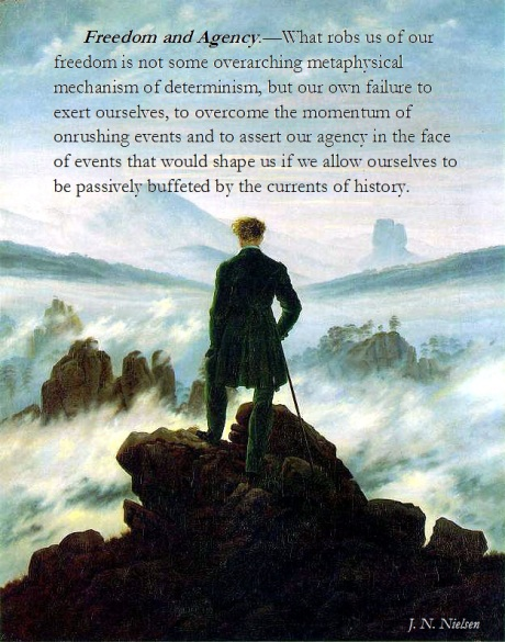 wanderer over a sea of fog with aphorism