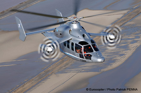 The Eurocopter X3 is an experimental compound helicopter under development by Eurocopter. It is intended to fly at speeds of over 220 knots (250 mph; 410 km/h)