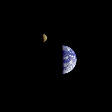 Earth and the moon in one frame as seen from the Galileo spacecraft 6.2 million kilometers away. (from Picture of Earth from Space by Fraser Cain)
