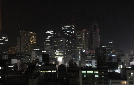 A fragment of the Tokyo skyline as seen from the window of my hotel room.