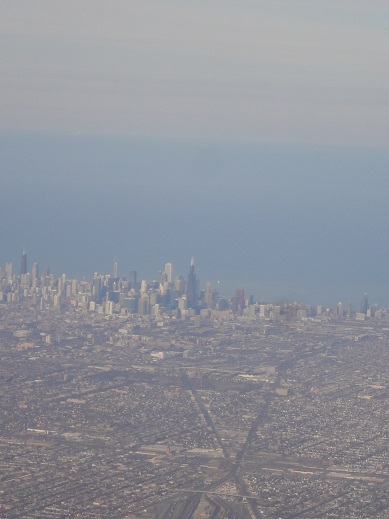 Chicago as I saw it from the air. I've been through the Chicago airport at night many times, but this is the first time I recall seeing it during the day.