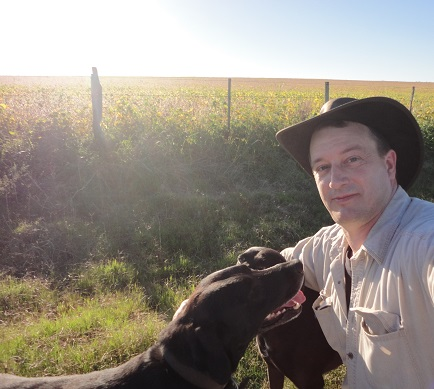 Walking with the dogs in the afternoon at the Estancia Tierra Santa.