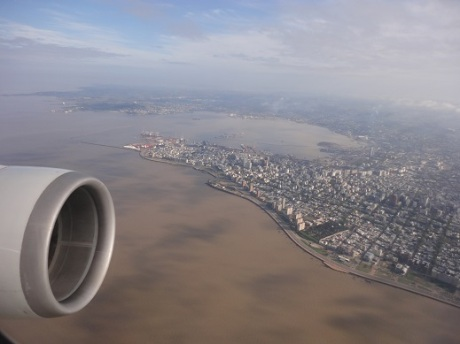 Flying over Montevideo on approach.