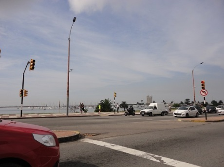 Driving along the oceanfront highway that wraps around Montevideo.
