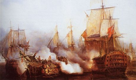 The Redoutable at Trafalgar (1805) by Auguste Etienne Francois Mayer (1805-90)