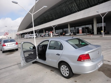 Picking up the rental car at the Montevideo airport.