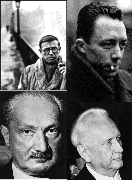 Sartre, Camus, Heidegger, and Jaspers represented different facets of existentialism.