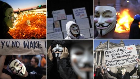 The Guy Fawkes mask from the film V for Vendetta has become a globally recognized symbol of protest.