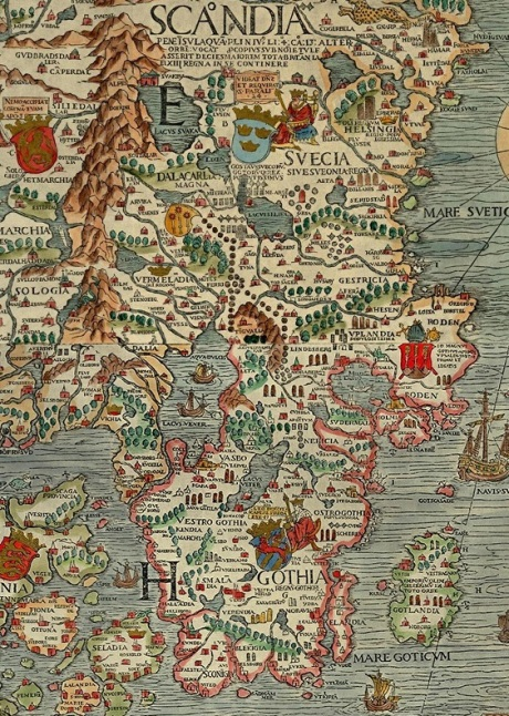 Detail of Sweden from the Carta Marina of 1539.
