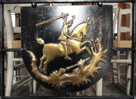 The motif of Saint George and the Dragon repeated elsewhere in the Storkyrka in another medium.