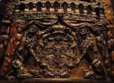 Unbelievably ornate bas-relief carvings on the Vasa.