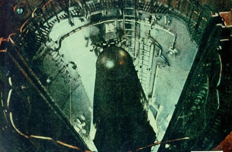 Soviet Yangel R-16 two stage ICBM in its silo.