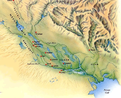 mesopotamia relief map