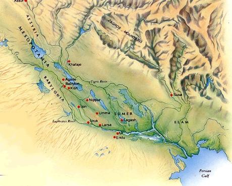 mesopotamia relief map