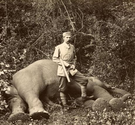 The Archduke Franz Ferdinand, heir to the throne of Austria-Hungary, with an elephant he shot in Ceylon. The Archduke was an avid hunter, so there is something of poetic justice in himself becoming the hunted.