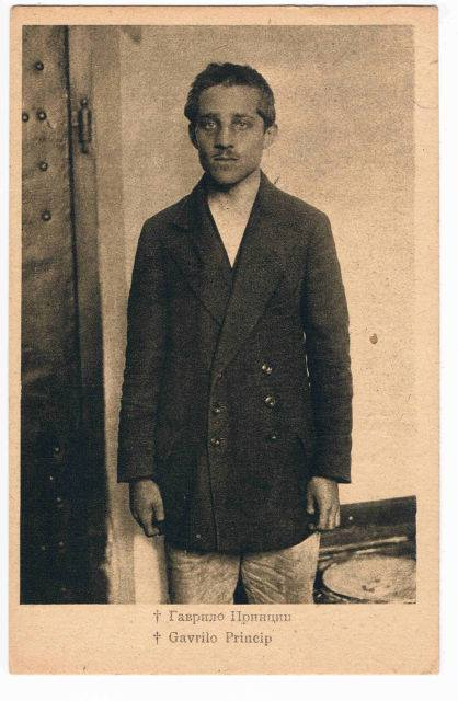 Gavrilo Princip postcard or dopisna karta published by Jakob Kappon in Sarajevo, Bosnia-Hercegovina, post-World War I, circa late 1920s, early 1930s. Printed by SHS Jugoslavija Zagreb. P. B. 4.