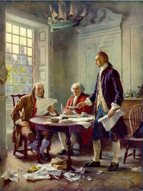 Writing the Declaration of Independence, 1776, by Jean Leon Gerome Ferris. Thomas Jefferson, John Adams, and Benjamin Franklin were named to a committee to prepare a declaration of independence. Jefferson (standing) did the actual writing because he was known as a good writer. Congress deleted Jefferson's most extravagant rhetoric and accusations. (Virginia Historical Society)