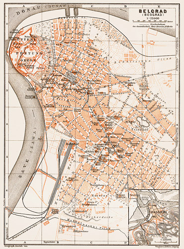 A map of Belgrade from 1905, showing the city bounded by the Danube and Sava rivers.