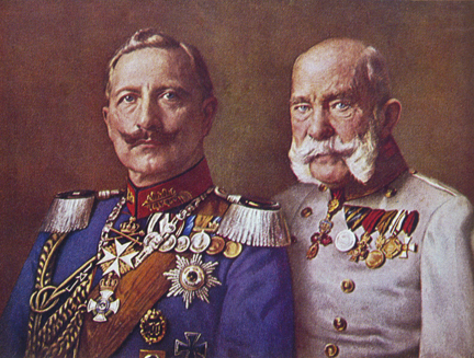 Kaiser Wilhelm lI, Emperor of Germany from 1888 to 1918 with Franz Josef, Emperor of Austria from 1848 to 1916.
