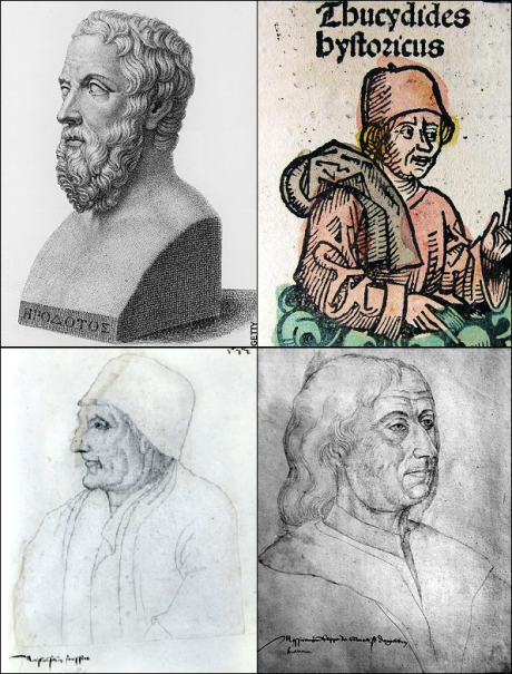 Herodotus of Halicarnassus, Thucydides, Jean Froissart, and Philippe de Commines.