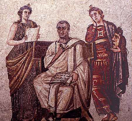 Mosaic of the epic and pastoral poet Virgil, flanked by Clio, muse of history, and Melpomene, muse of tragic and lyric poetry.