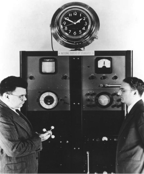 Ammonia maser frequency standard built 1949 at the US National Bureau of Standards (now National Institute of Standards and Technology) by Harold Lyons and associates. (Wikipedia)