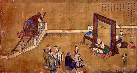 The legendary meeting of Confucius and Lao Tzu, each representing very different philosophical traditions of China.
