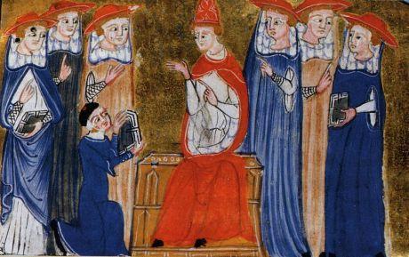 Jean XXII reçoit les transcriptions de l'interrogatoire de Gui de Corvo. Manuscrit du XVem siècle. Bibl Nazionale Braidense, Milan, Italie.