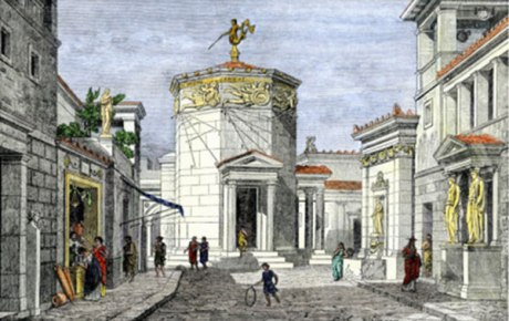 The Tower of the Winds in Athens held one of the most advanced timekeeping devices in classical antiquity; the tower still stands, but the mechanism is long gone.