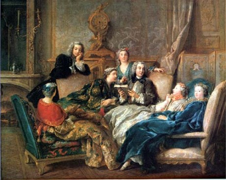 """La Lecture de Molière"" Jean François de Troy, which Clark contrasted to the Hogarth, ""...one can't deny that the de Troy is a picture of civilised life."""