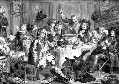 "An engraving by Hogarth, Midnight Modern Conversation, of which Clark said, ""Plenty of animal spirits, but not what we could, by any stretch, call civilisation. """