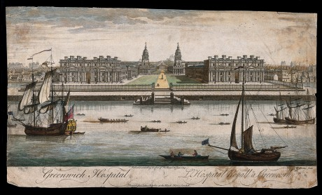 V0013271 Royal Naval Hospital, Greenwich, with houses either side, sh