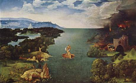 Patinir's painting of Charon crossing the river Styx has always impressed me for its overview effect of the landscape.