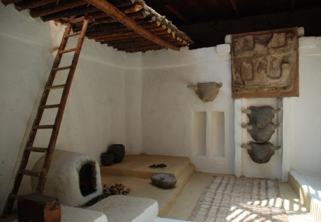 A very comfortable-looking reconstruction of an interior at Çatal Hüyük, which gives the appearance of civilized life.