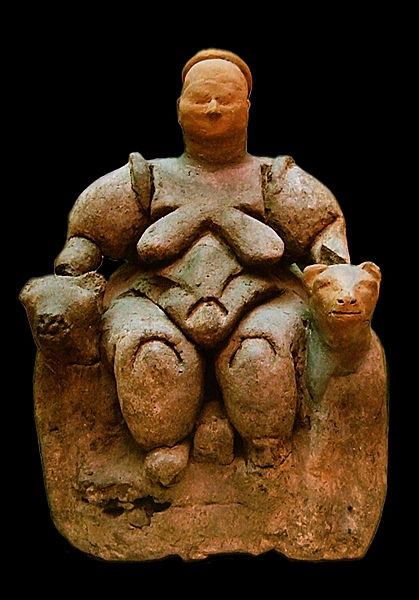 Ritual figurine from Çatal Hüyük; the area excavated to date includes a large number of structures believed to be shrines or temples, demonstrating a robust ideological infrastructure.