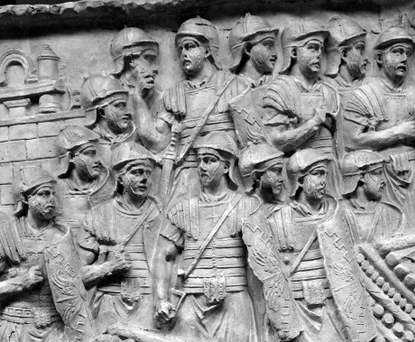 TRAJAN'S COLUMN XLVI/LXVI (scene 66): Soldiers at the ready