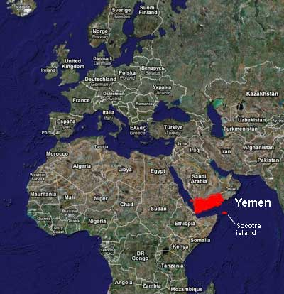 yemen on the map