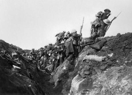 Going 'over the top' at the Battle of the Somme.