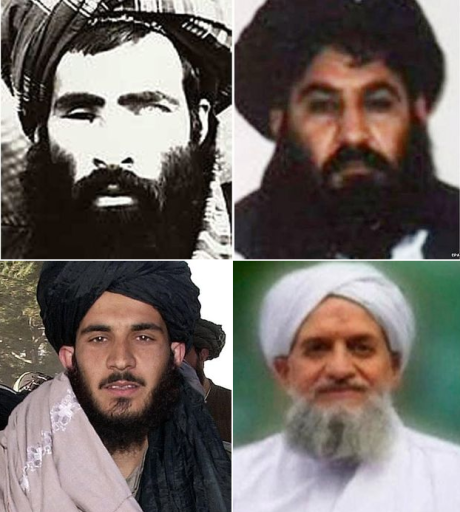 Mullah Omar, above left, is dead; Mullah Akhtar Mansour, above right, has been proclaimed the new Taliban leader; Syed Tayyab Agha, below left, head of the Taliban office in Qatar, has quit over the appointment of Mullah Mansour; Ayman al-Zawahiri, head of Al-Qaeda since Bin-Laden was killed, has joined the fray and released a video pledging allegiance to Mansour.