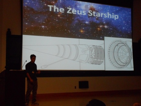 David Evinshteyn of the local Drexel chapter of Icarus Interstellar gives a presentation of their Zeus starship.
