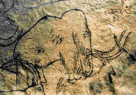 Depiction of a mammoth from Roufignac, France, painted by our distant ancestors.