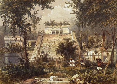 From Frederick Catherwood's Views of Ancient Monuments, 1844, a temple at Tulum, in present-day Mexico.