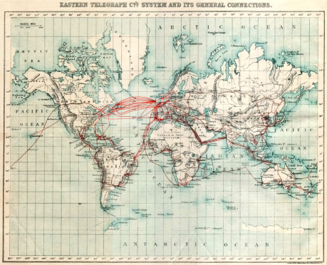 A map of underwater cables from 1901; already the world was bound together by a global telecommunications network.