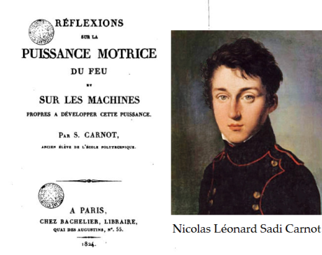 Nicolas Léonard Sadi Carnot, 01 June 1796 to 24 August 1832, was a French military engineer and physicist; in his only publication, the 1824 monograph Reflections on the Motive Power of Fire, Carnot gave the first successful theory of the maximum efficiency of heat engines. (Wikipedia)